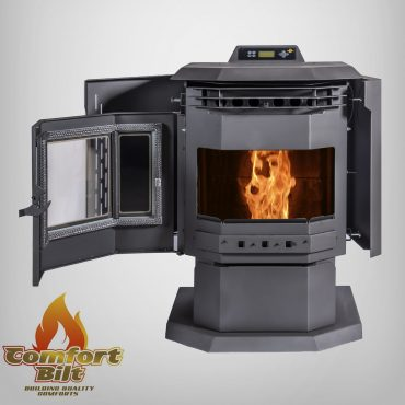 HP21 Pellet Stove Open Door View With Fire