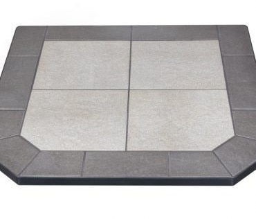 Midnight Black Hearth Pad designed for our pellet stoves burning wood pellets.